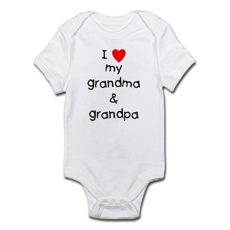 I Love My Grandma & Grandpa Infant Bodysuit - Baby Light Bodysuit Grandma Funny Infant Bodysuit