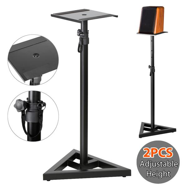 Yaheetech 2 Pcs Speaker Stands Adjustable Monitor Metal Set Speaker Triangle Pair Steel Stands