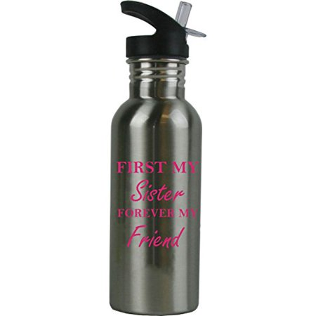 20 Ounce Ml (First My Sister Forever My Friend 20 Ounce (600 mL) Stainless Steel Water Bottle with Sport Lid,)