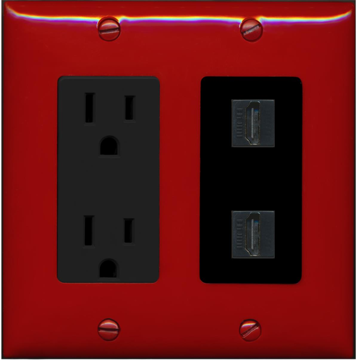 RiteAV - 15 Amp Power Outlet 2 Port HDMI Decora Wall Plate - Red/Black