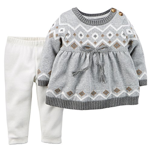 Carter's Baby Girls' 2-Piece Fair Isle Sweater & Legging Set; Grey ...