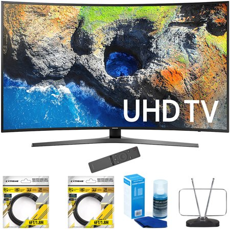 Samsung 65   Curved 4K Ultra Hd Smart Led Tv 2017 Model  Un65mu7500fxza  With 2X 6Ft High Speed Hdmi Cable Black  Universal Screen Cleaner For Led Tvs   Durable Hdtv And Fm Antenna