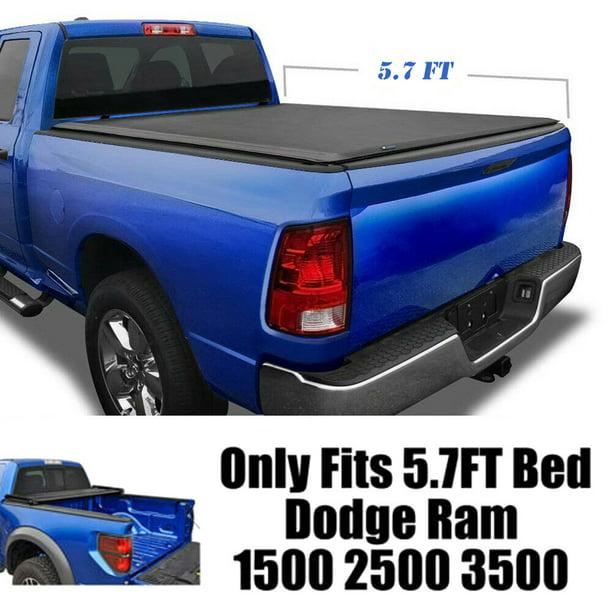 Soft Tri Folding Tonneau Cover For 2009 2019 Dodge Ram 1500 Fleetside 5 7ft Bed Walmart Com Walmart Com