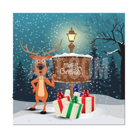 Christmas Greeting Card - Snowy Winter Background. Christmas Reindeer Signing at Wood Board with Me Print Wall Art By - Wood Reindeer