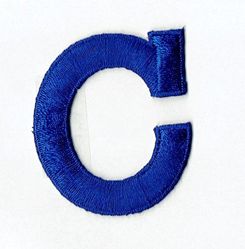 "Alphabet Letter - C - Color Royal Blue - 2"" Block Style - Iron On Embroidered Applique Patch"