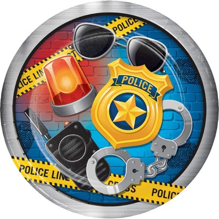 Police Party Paper Dinner Plates (8 ct), One Package of 8 Police Party 9 Inch Lunch/Dinner Plates By Creative Converting