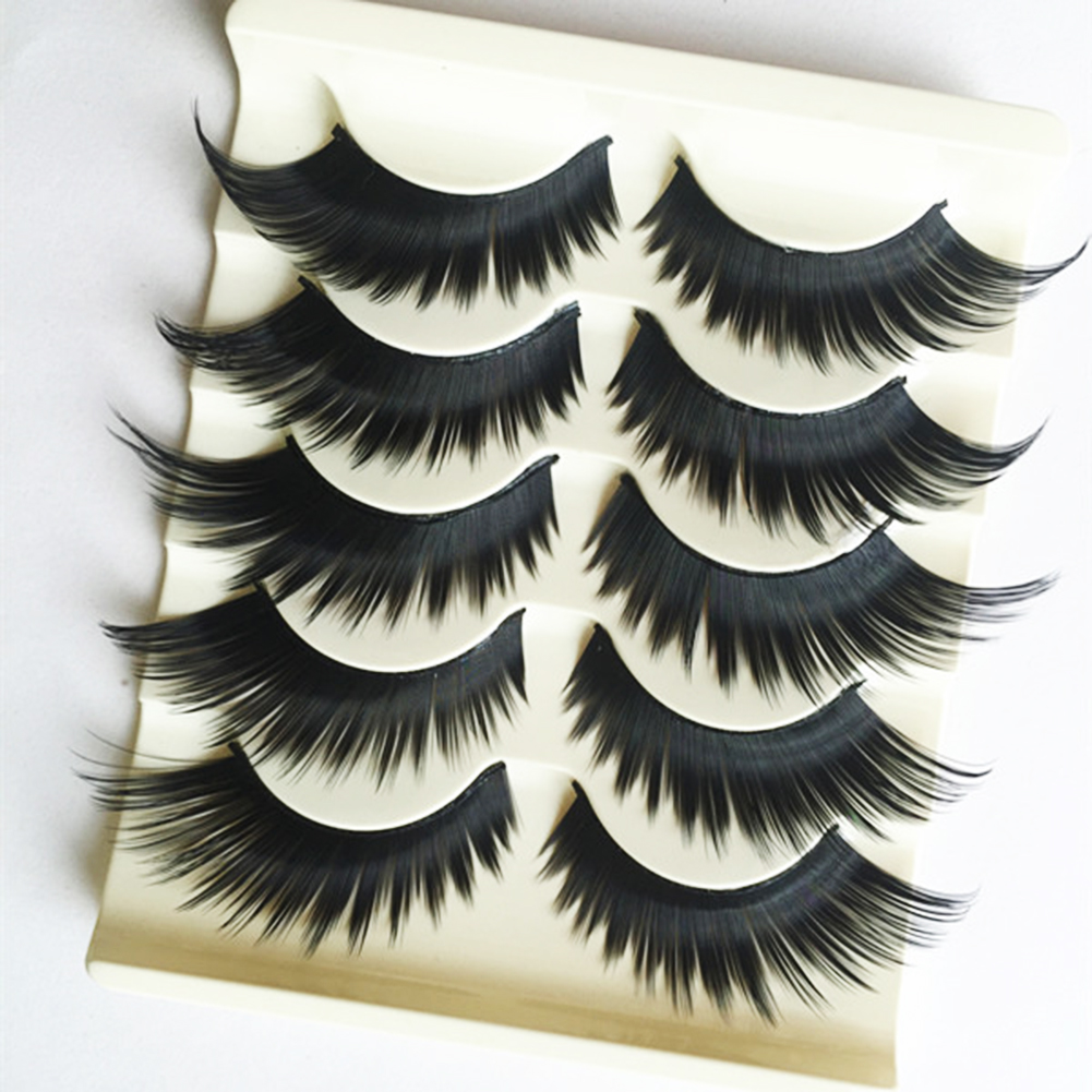 Heepo 5 Pairs Women's 3D Cross Thick Long False Eyelashes Stage Makeup Fake Eye Lashes