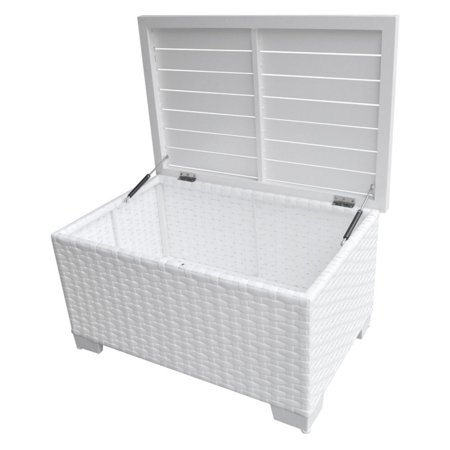 Tk Clics Outdoor White Wicker Storage Coffee Table