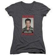 Trevco Ncis-Wanted - Junior V-Neck Tee - Charcoal, Large