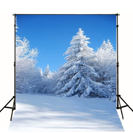 GreenDecor Polyester Fabric 5x7ft Winter Photography Backdrop White Snow Forest Photo Background Xmas Waterproof Material Backdrops for Photocall - Snow Backdrop