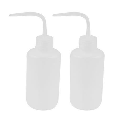 Unique Bargains 2pcs 250mL Plastic Squeeze Bottle Translucent Right Angle Bent Tip Liquid Storage Dispenser Needle Tip Bottle