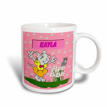 3dRose Kayla - Decorative Name Specific Childrens Art, Ceramic Mug, 15-ounce