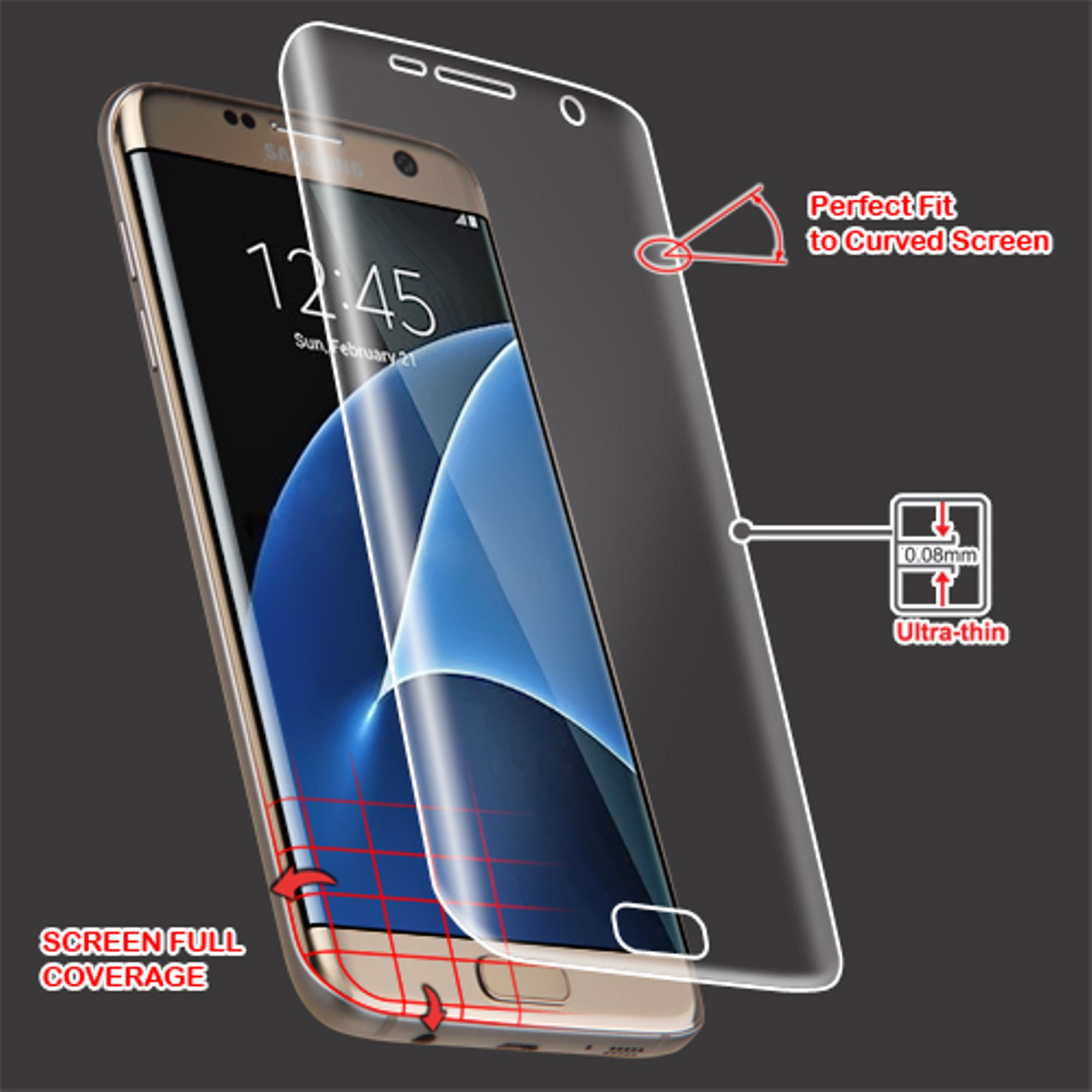 Insten For Samsung Galaxy S7 Edge Clear LCD Screen Protector with Curved Full Coverage