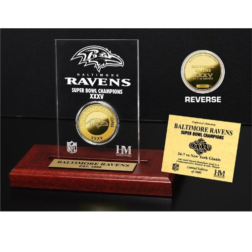 NFL Table Display by The Highland Mint, Baltimore Ravens - Super Bowl Champs