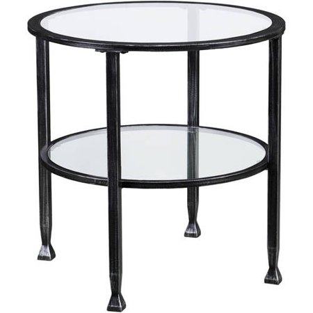 Jumpluff Metal/Glass Round End Table, Black