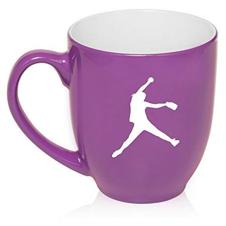 16 oz Large Bistro Mug Ceramic Coffee Tea Glass Cup Female Softball Pitcher (Purple) ()