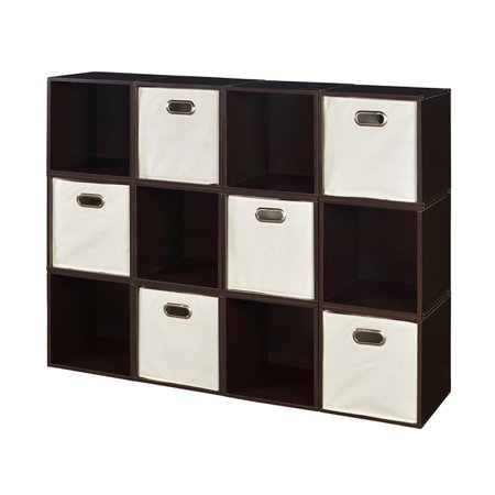 Regency Niche Cubo Storage Set of 12 Cubes, Warm Cherry and 6 Canvas Bins, Multiple Colors