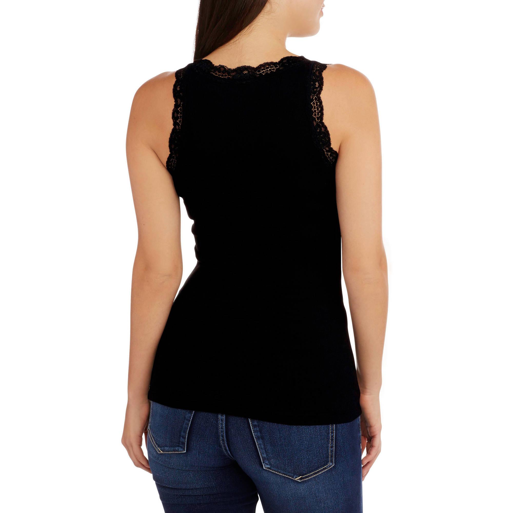 Women S Lace Trim Tank 2 Pack Value Bundle Walmart Com