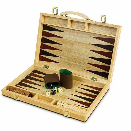 "Sterling Games 15"" Wooden Backgammon Set"