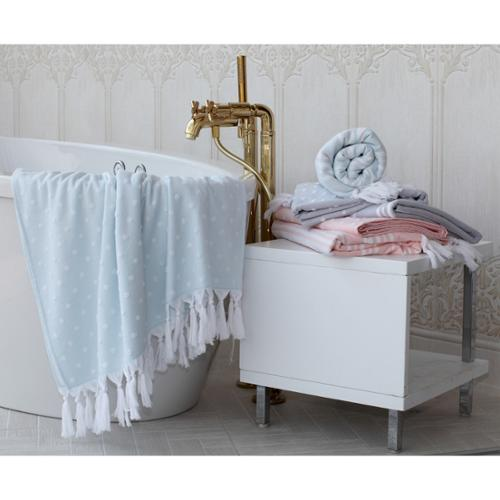Sweet Kids Dots or Stripes Turkish Cotton Pestemal Bath Towel Polka Dot - Stone Grey