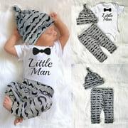 Newborn Baby Boy Infant Short Sleeve Romper + Long Pants +Hat Outfit Set Clothes