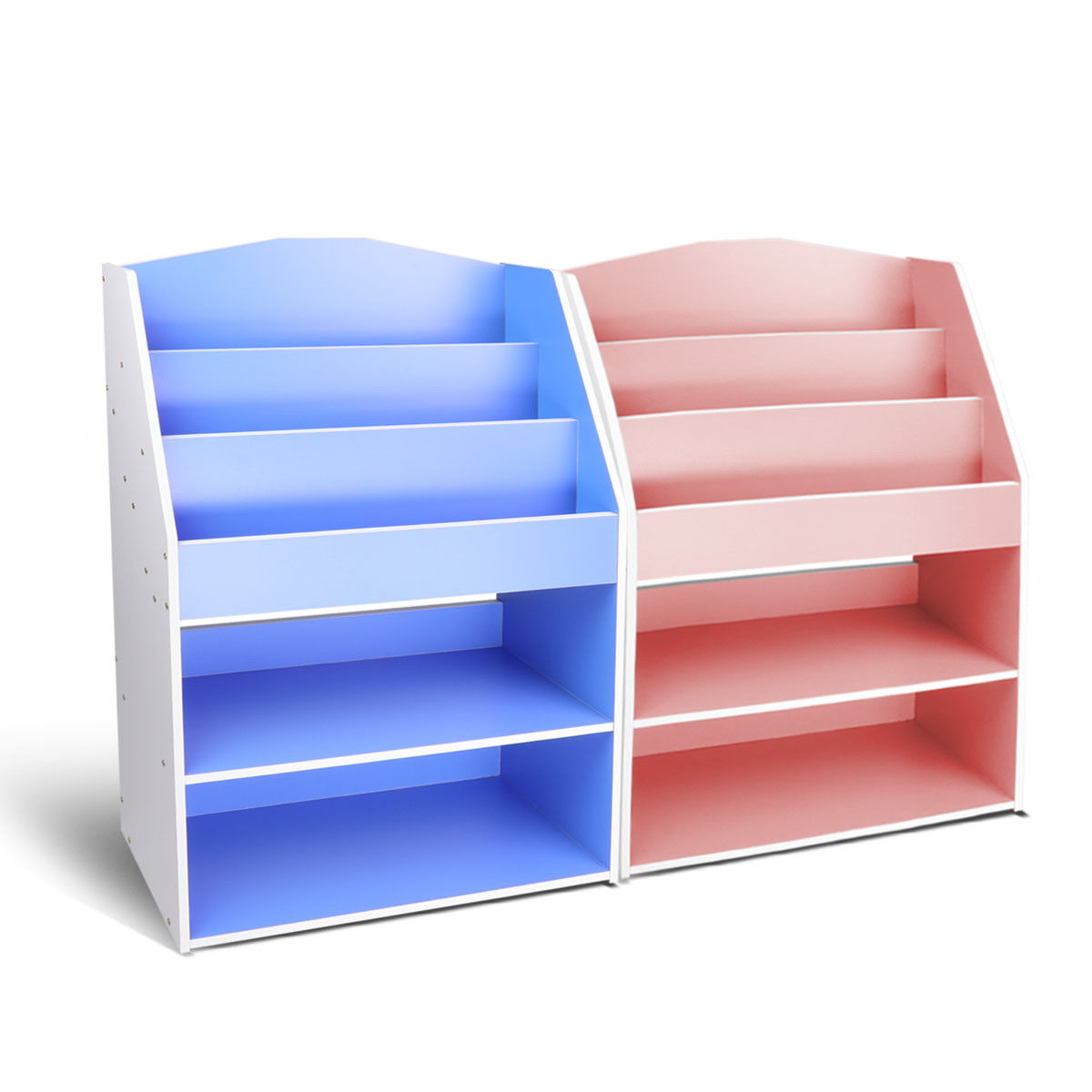 Children Kids Bookcase Toy Storage Bookshelf Wooden Organizer Blue