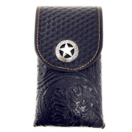 - Western Cowboy Medium Size Genuine Leather Star Smartphone Galaxy iPhone Holder Holster Cellphone Case