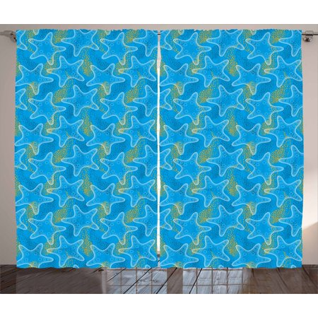 Starfish Curtains 2 Panels Set, Marine Underwater Life Theme Sea Stars Dotwork Style Aquatic Ocean Design, Window Drapes for Living Room Bedroom, 108W X 108L Inches, Marigold Blue White, by Ambesonne