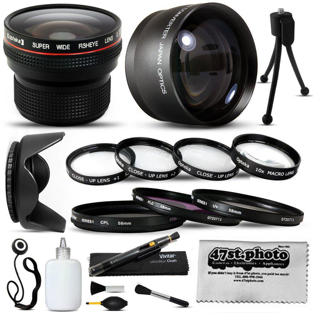 15 Piece Macro Fisheye Telephoto Lens Filters Set for Sony HDR-CX160 HDR-CX520 HDR-CX550 HDR-CX560 HDR-CX700... by Opteka