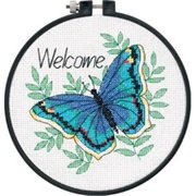 "Learn-A-Craft Welcome Butterfly Counted Cross Stitch Kit-6"" Round 14 Count"