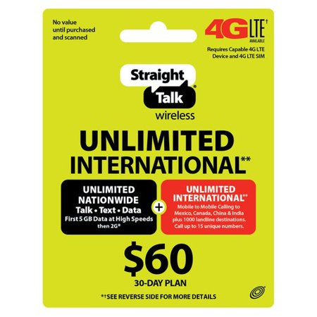 straight talk wireless 60 30 day unlimited international plan prepaid phone card - Mexico Calling Card