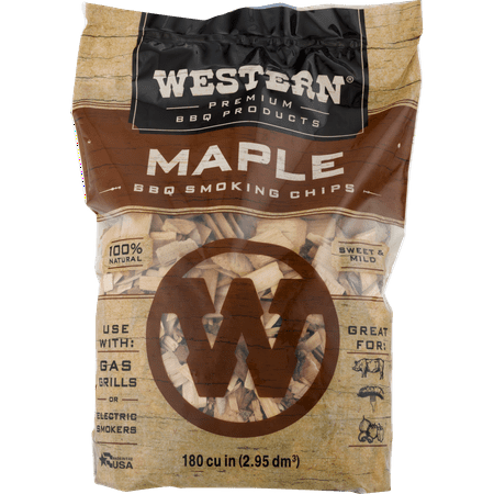 Western Premium BBQ Products Maple Smoking Chips, 180 CU. (Best Wood For Smoking Beef)