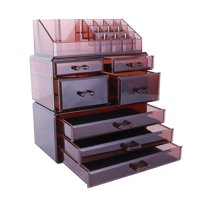 Zimtown Makeup Cosmetic Organizer Jewelry Counter Storage Case Large Display Drawer 3 Pieces Set