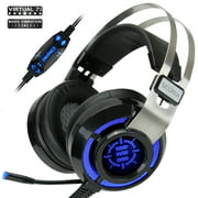 ENHANCE Scoria Gaming Headset for Computer & PS4 with USB 7.1 Surround Sound , Interactive Bass Vibration , Adjustable LED Lighting , In-Line Controls & Retractable Microphone - TeamSpeak Certified