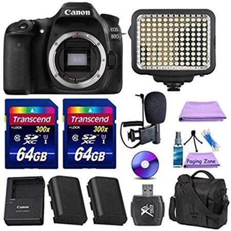 Canon EOS 80D Digital SLR Camera + Extra Battery + 2pc 64GB Memory Cards + Deluxe Case + LED Light + Paging Zone Cleaning