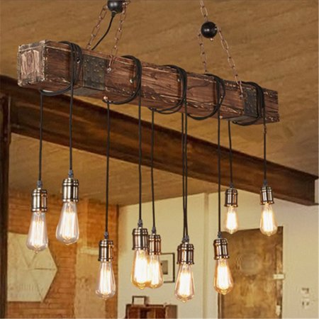 Meigar 35 110v Rustic Farmhouse Furniture E26 Wood Beam Chandelier Pendant Lighting Fixture Kitchen Dining Room Bar Hotel Decor 10 Bulbs