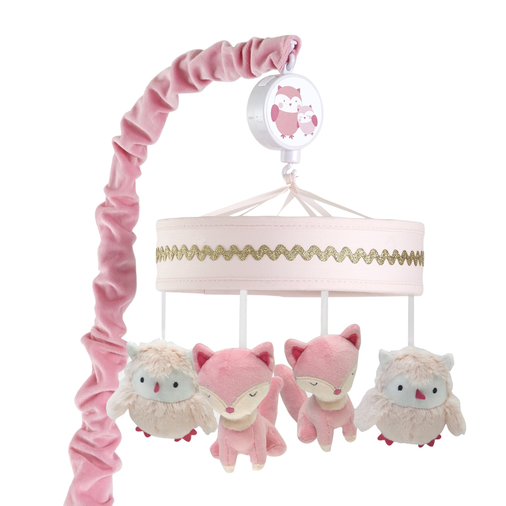 Lambs & Ivy Woodland Couture Pink Gold Owl & Fox Musical Baby Crib Mobile by Lambs %26 Ivy