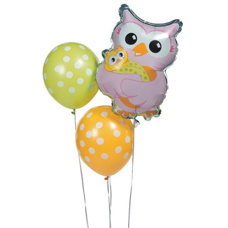 Fun Express - Owl Baby Shower Balloon Assortment for Baby - Party Decor - Balloons - Latex Balloons - Baby - 3 Pieces - Owl Baby Shower Decor