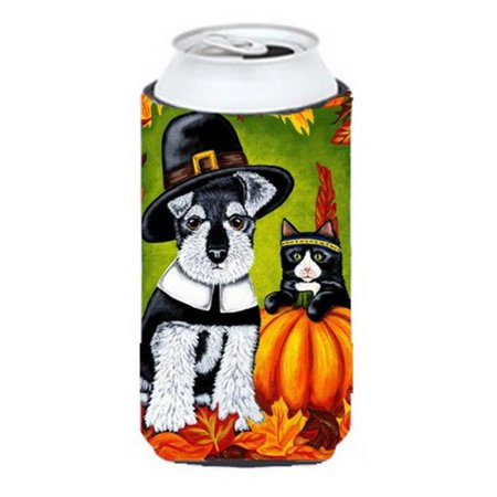 Thanksgiving Friends Schnauzer Tall Boy Can cooler Hugger - image 1 de 1