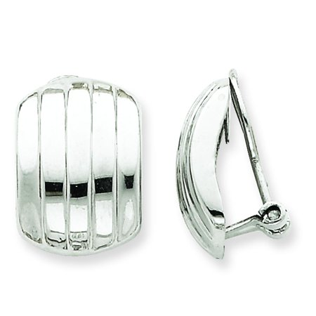 14K White Gold Ribbed Omega Clip On Back Earrings