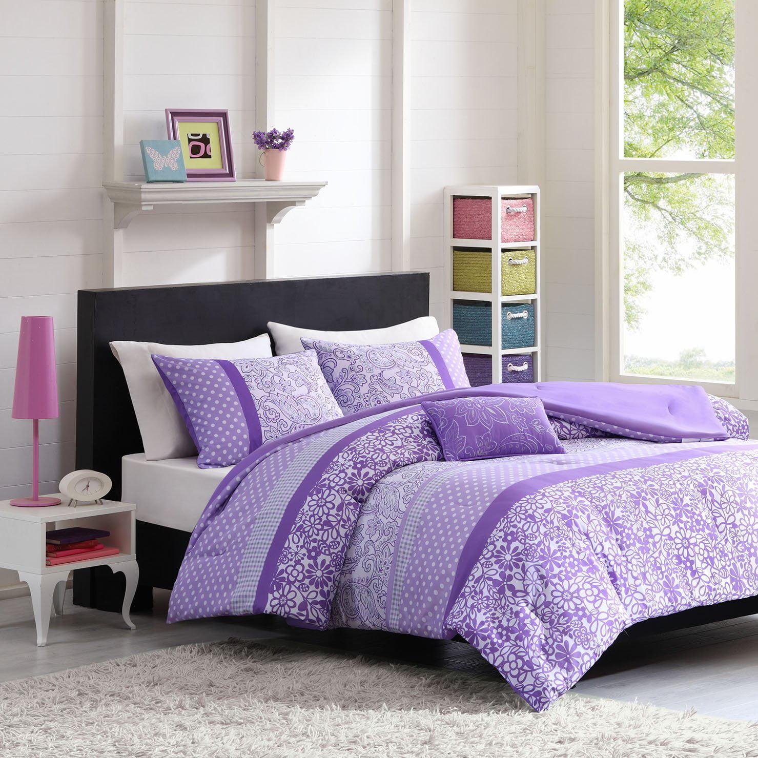 Mizone Riley 3 Piece Comforter Set Twin Twin X Large Purple 1 Comforter 1 Standard Sham 1 Decorative Pillow By Mi Zone Walmart Com Walmart Com