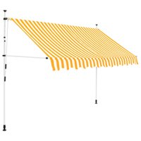 "OTVIAP Manual Retractable Awning 98.4"" Yellow and White Stripes"