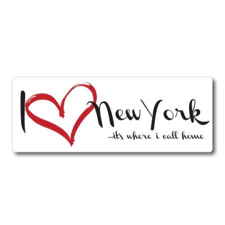 I Love (heart) New York, It's Where I Call Home Car Magnet 3x8