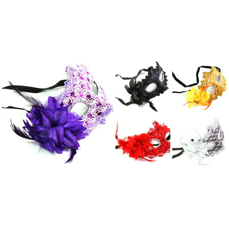Set of 5: Black Red Silver Purple Orange Flower Feather Lace Masquerade - Masquerade Masks On A Stick Cheap