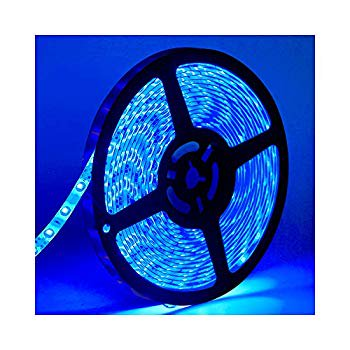 Water-Resistance IP65, 12V Waterproof Flexible LED Strip Light, 16.4ft/5m Cuttable LED Light Strips, 300 Units 3528 LEDs Lighting String, LED Tape(Blue) Power Adapter not Included