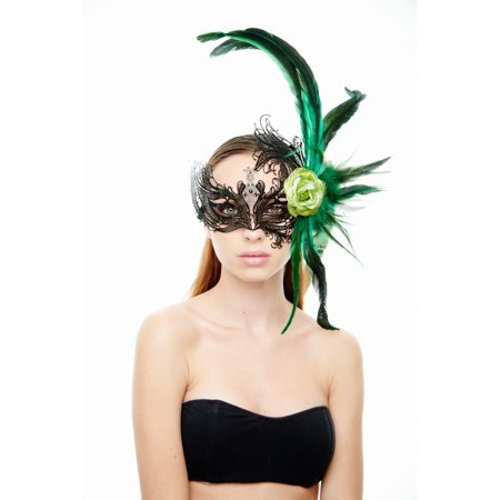KAYSO INC FBF003BK-GN MAJESTIC BLACK SWAN LASER CUT MASQUERADE MASK WITH FEATHERS AND GREEN FLOWER ARRANGEMENT (Black And Green Masquerade Mask)