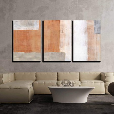 "wall26 - 3 Piece Canvas Wall Art - Grey and Brown Abstract Art Painting - Modern Home Decor Stretched and Framed Ready to Hang - 24""x36""x3 Panels"