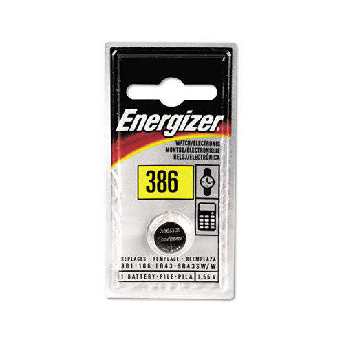 Energizer Watch/Electronic Battery, Silvox, 386, 1.5V, Mercfree (Set of 5)