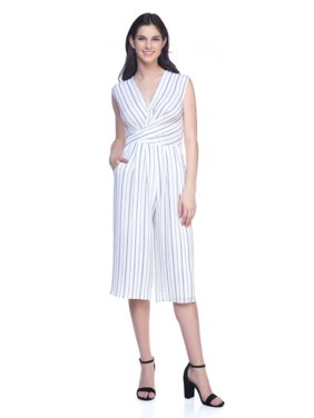 OFASHIONUSA Women's Sleeveles Stripe Jumpsuit (White-Navy, Large)