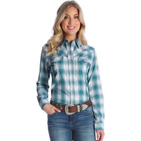 Wrangler Womens Turquoise Fancy Yoke Western Shirt   Lw1013b